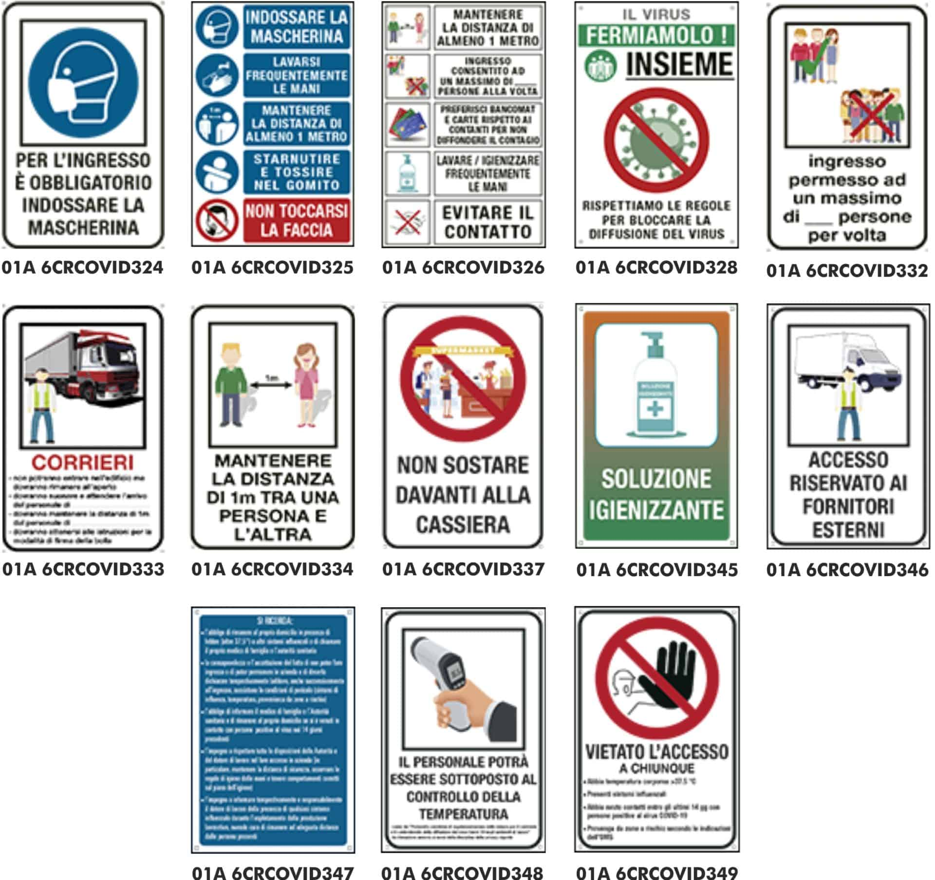 Covid-19 dispositivi di protezione | Elettrogruppo ZeroUno | Torino | segnaletica