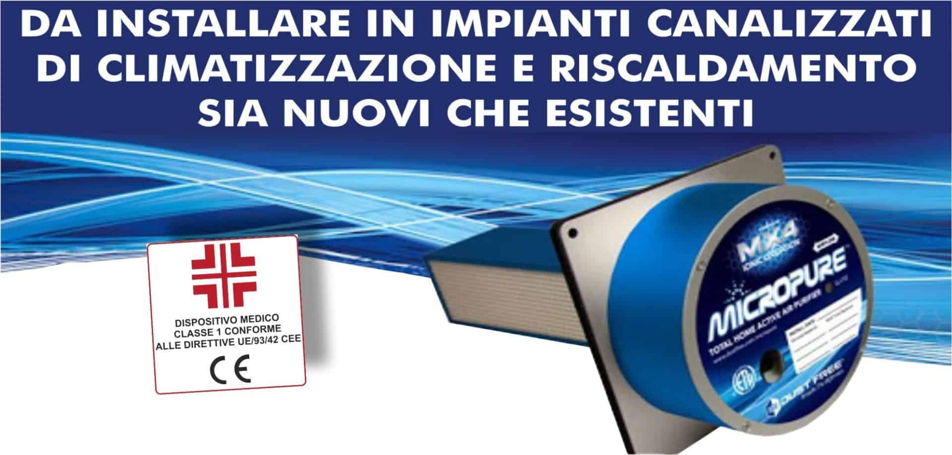 Sistemi di sanificazione attiva Dust Free | Elettrogruppo ZeroUno | TO | MICROPURE DISPOSITIVO MEDICO CLASSE 1 CONFORME ALLE DIRETTIVE