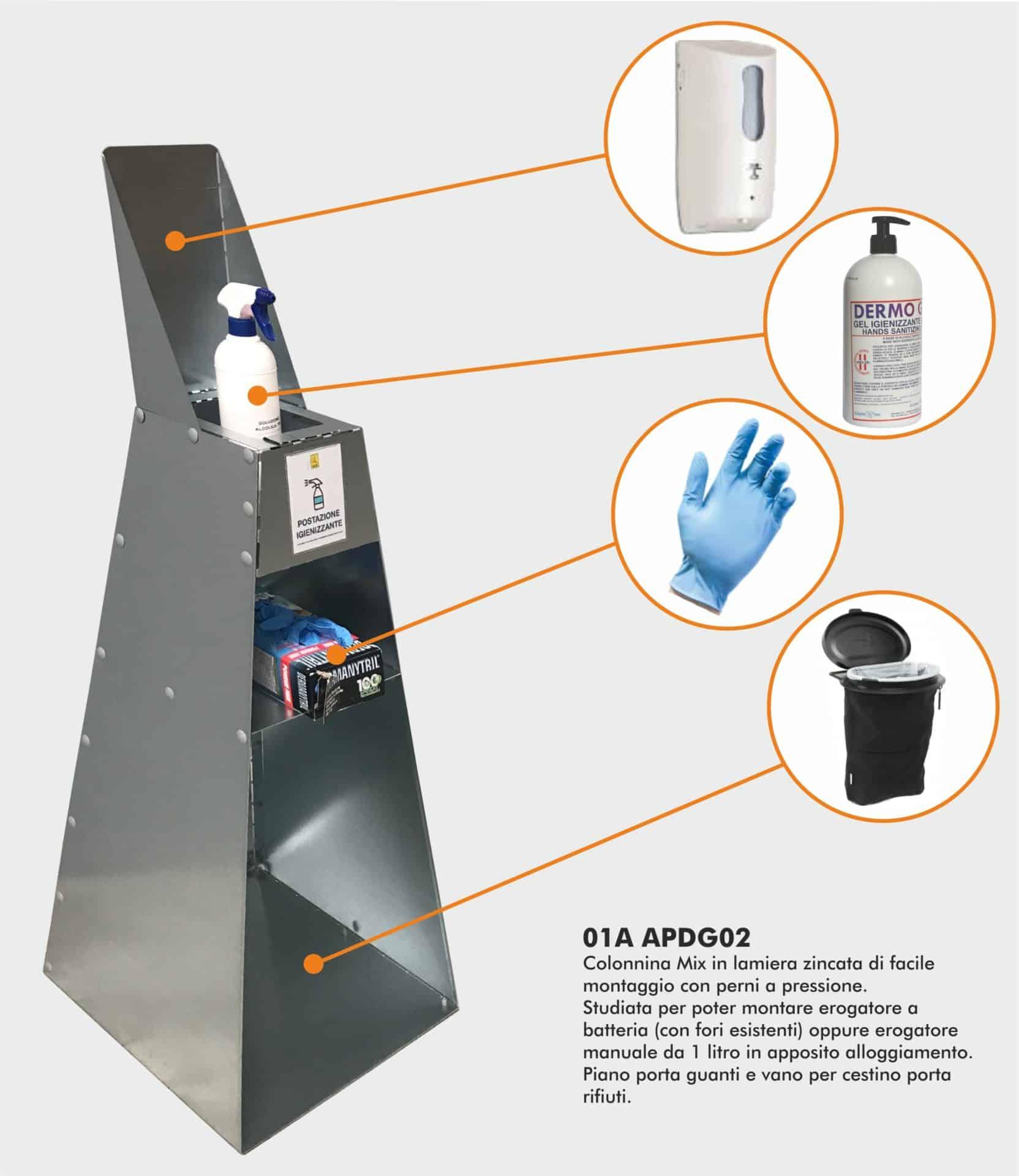 Covid-19 dispositivi di protezione | Elettrogruppo ZeroUno | Torino | colonnina porta dispenser lamiera mix