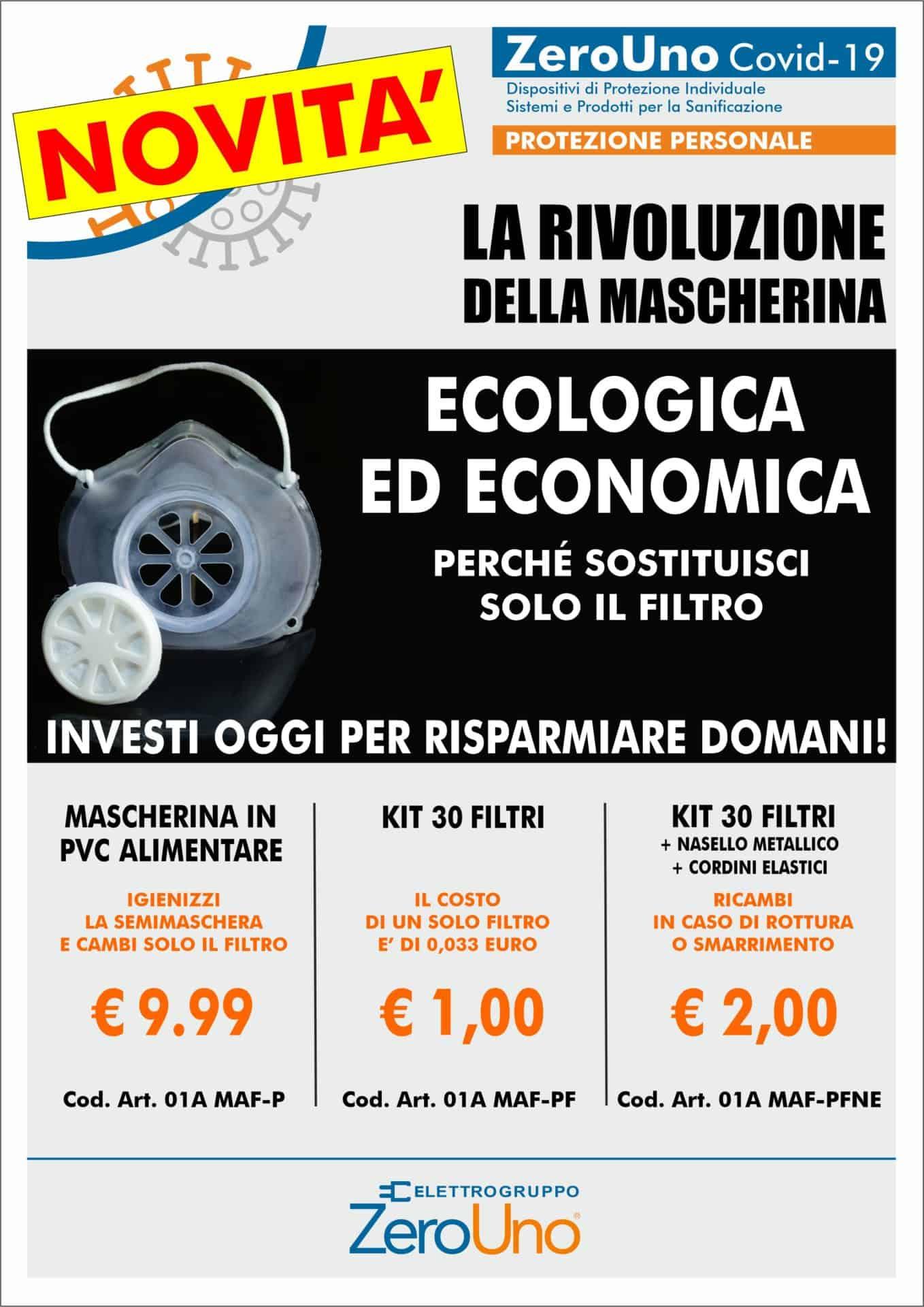 Covid-19 dispositivi di protezione | Elettrogruppo ZeroUno | Torino | mascherine promo